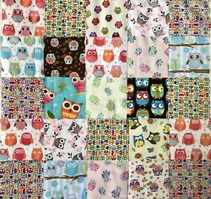 """25 x Assorted Owl Fabric 4 1/2"""" Charm Squares -100% Quality Cotton For Patchwork"""