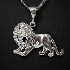 "2"" Long Genuine Solid 925 Sterling Silver Lion / King / Boss / Rasta Pendant"