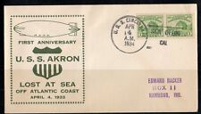 US 1924 NAVY COVER USS CINCINNATI FIRST ANNIV. USS AKRON GRAF ZEPPELIN LOST AT