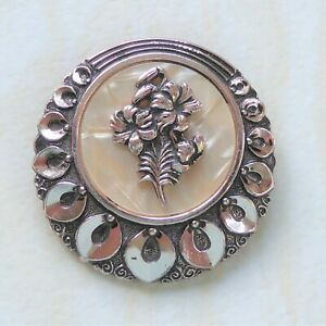 Vintage Scarf Clip Cream Lucite Mother of Pearl Effect Lily Flower Petal Border