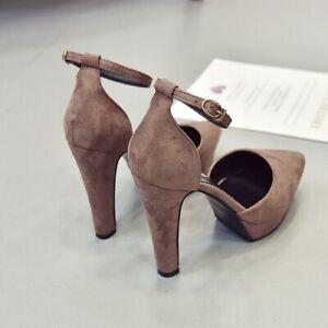 Fashion Pointed Toe Platform High Heels Women's Buckle Belt Heel Suede Sandals