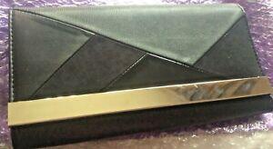Dorothy Perkins  BlackPatent/ Suede  Clutch Bag  Detachable Chain Handle   (mm)
