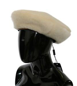 DOLCE & GABBANA Hat White Acrylic Wide Beret Fur Cap s. 57 / S RRP $700