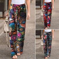 ZANZEA Womens Elastic Waist Printed Casual Loose Trousers Ladies Wide Leg Pants