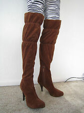 Sexy with Class !!  MIA Extra-Tall Knee High Brown Suede Fabric Boots - sz 7.5