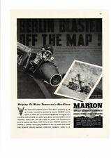 VINTAGE 1943 MARION STEAM SHOVEL CRANES WALKERS DRAGLINES PILOT BOMBER AD PRINT