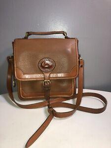 Vintage Dooney&bourke Tan Brown Leather Crossbody Top Handle Bag Brass Hardware