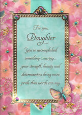 PAPYRUS GRADUATION CARD NIP MSRP $7.95 DAUGHTER(PINK/TURQUOISE) CARD (K4)