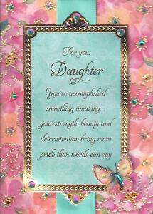 PAPYRUS GRADUATION CARD NIP MSRP $7.95 DAUGHTER(PINK/TURQUOISE) CARD (K4)