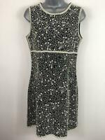 WOMENS FRENCH CONNECTION BLACK CREAM HEAVILY BEADED FITTED A-LINE DRESS UK 10