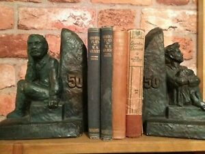 Vintage bookends chalkware 50 antique verdigris SIGNED KR