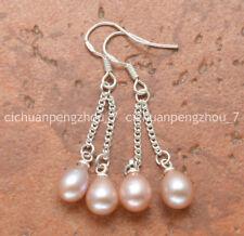 Pretty! 6-7mm pink Akoya Freshwater Pearl Silver Hook Drop Dangle Earring