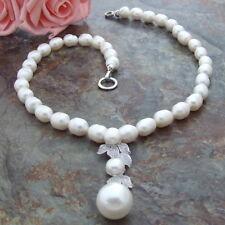 CZ Pendant  23'' WhiteRice Pearl Necklace
