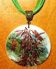 Genuine Russian hand painted White Lip Shell PENDANT Golden Bamboo & Dragonfly