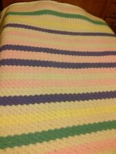 "LARGE CROCHET BEDSPREAD QUILT CREAM PINK GREEN YELLOW PURPLE LINES 75"" X 107"""
