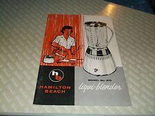 s. Hamilton Beach Model No. 210 Liqui-blender Booklet How to Use Recipes 32 pgs
