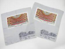 2 Vintage Silk Handkerchiefs Milan Italy Teatro alla Scala & Hotel Continental