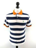 RALPH LAUREN Boys Polo Shirt 14-16 Years Large White Blue Orange Stripes Cotton