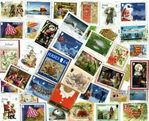 A LOVELY MIX OF ALL DIFFERENT KILOWARE STAMPS FROM JERSEY