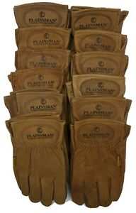 Plainsman Premium Goatskin Cabretta Leather Gloves BROWN 12 Pairs (Sm-XL) NEW