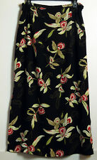 Kathie Lee Black,Tan & Red Floral Orchid Straight Poly Chiffon Maxi Skirt 14