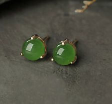 B09 Earring Unplugged Green Jade Round 3 Claws Sterling Silver 925 Gold Plated