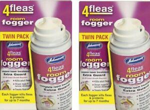 Johnsons 4 Fleas X4 New Improved Flea  Killer Fogger Household Kills Moths D098