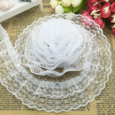 NEW 5 yards 3-Layer 45mm White Organza Lace Gathered Pleated Sequined Trim A-07#