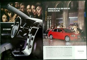 2004 Volvo S40 Red Sedan Cobblestone Street  Auto Photo 2pg Vintage Print Ad
