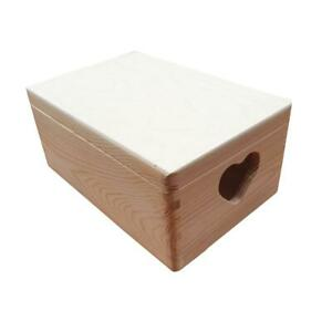 Wooden Trunk / Box 30 x 20 x 13.5 cm Whit Lid and Heart, Storage and Toys Box