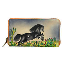 SUKRITI Gray 100% Genuine Leather Horse Hand Painted RFID Wallet Women Purse