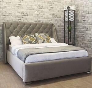 Designer Plush Velvet Winged Bed Frame Upholstered - Single, Double, King