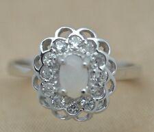 Anello opale & zirconi argento 925 misura 56