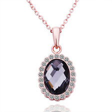 Narlino 18k Rose Gold Plated Black Oval Crystal Pendant Necklace With Swarovski