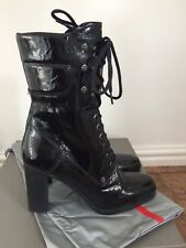 PRADA  Black Patent Leather Lace Up Heeled Ankle Boots. UK 8/41. RRP £810 BNIB