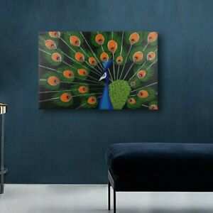 *Peacock* Hand Painted Oil Painting Stretched Canvas Wall Art Home Decor Framed