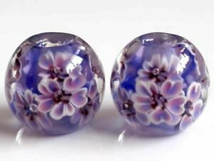 10pcs exquisite handmade Lampwork glass beads blue purple flower 14mm