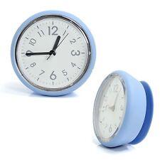 Blue Bathroom Mirror Suction Clock Shower Room Clock Kitchen Clock Waterproof