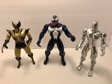 "Marvel Action Figure Lot Wolverine, Venom & Silver Surfer 1993 -1994 ToyBiz 10"""