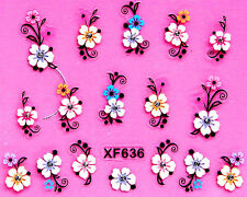 Acrylic Effect Flowers Black Scrolls 3D Nail Art Stickers Decals UV Acrylic Tips