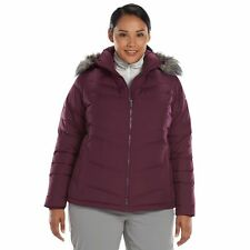 COLUMBIA Womens Hooded Down Puffer Winter Snow Jacket coat Purple Dahlia  3X