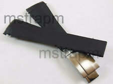 20mm Black Watch Strap Band with Deployment Clasp for Rolex