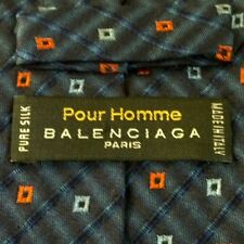 BALENCIAGA PARIS silk tie POUR HOMME Italy blue, orange 60 in. length SHARP!