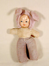 "VINTAGE VTG RUBBER FACED GIRL DOLL WITH BUNNY RABBIT HAT 18"" EAR TO TOE"