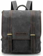 Waxed Canvas and Leather Vintage Backpack College School Casual Unisex Rucksack