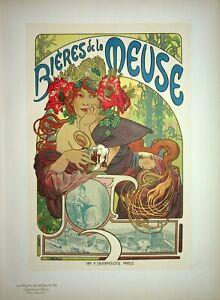 MUCHA : Bières de la Meuse - Lithographie originale signée,1899