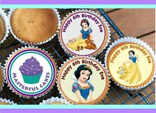 24 PERSONALISED SNOW WHITE EDIBLE RICE PAPER CUP CAKE TOPPERS