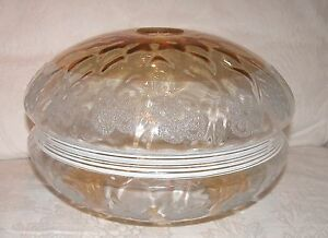 """VINTAGE LARGE GOLD/AMBER GLASS SHADE WITH ETCHED BOWS  12"""" w x 7  1/2"""" tall"""