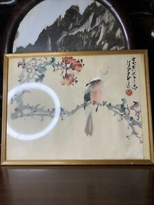 Old Chinese Antique 1957-02-07 Hand Paint 赵少昂 Bird Scroll Painting Asian China