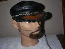 Old School Leather Harley Hat Cap Beret Be Bop Cabby Style small to medium